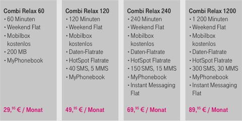 Combi-Relax-Tarife