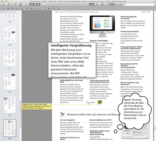 Die Vorschau von Mac OS X