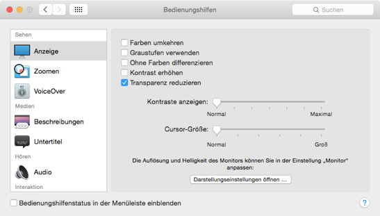 Bedienungshilfen in OS X 10.10