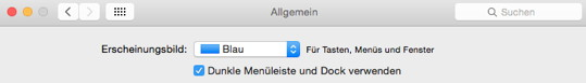 Dunkler Modus in OS X 10.10
