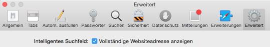 Darstellung vollständiger URLs in Safari