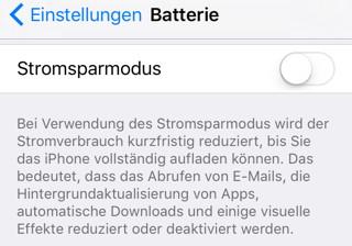 Stromsparmodus in iOS 9