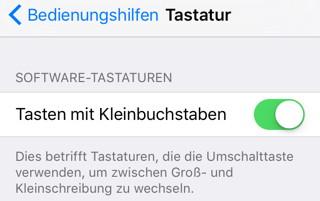 iOS 9: Großbuchstaben-Tastatur dauerhaft aktivieren