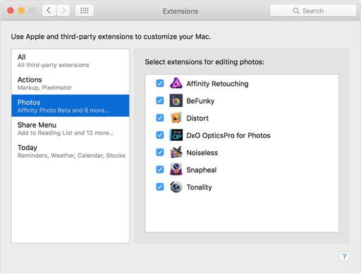 OS X El Capitan: Erweiterungen für Fotos