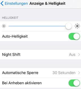 iOS 10 - Anheben