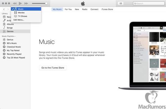 Screenshot von iTunes 12.4