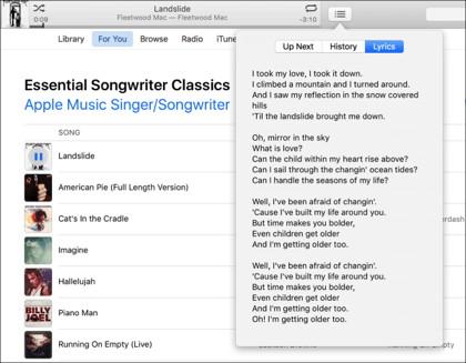 iTunes 12.5 zeigt Liedtexte während Musikwiedergabe an