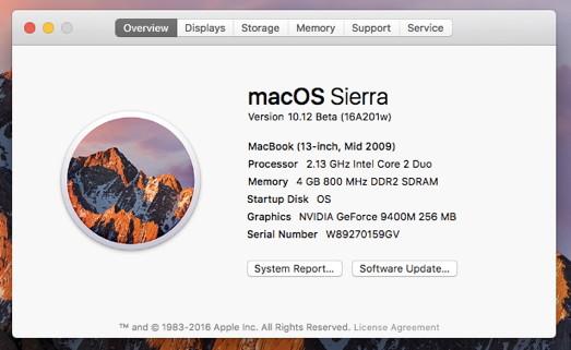 macOS Sierra auf MacBook Mitte 2009