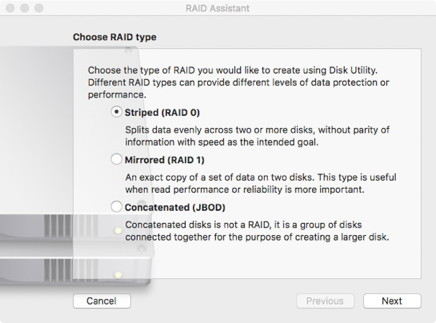 RAID-Optionen macOS Sierra