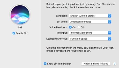 macOS Sierra Siri-Einstellungen