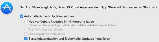 OS X stille Sicherheitsupdates deaktivieren