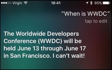 Siri nennt Termin für WWDC 2016