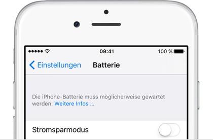 iOS informiert jetzt über schwache Akkus