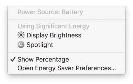 Batteriestatus-Menü in macOS 10.12.3