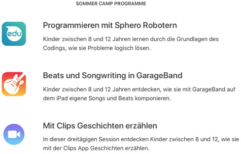Apple Sommer Camps
