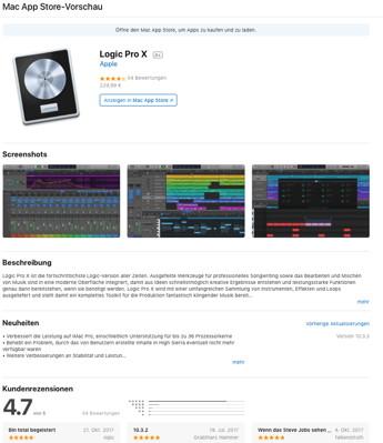Die neugestaltete Web-Vorschau der Logic-Pro-X-Seite im Mac-App-Store