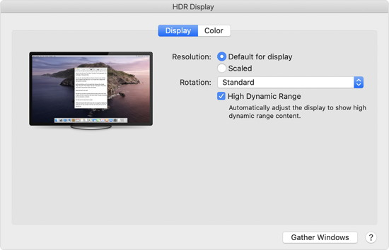 macOS 10.15.4 HDR-Video